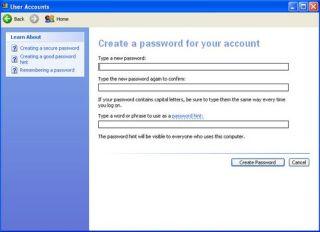 Box displaying password options